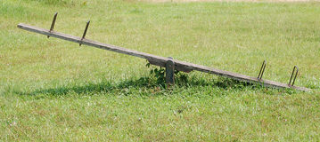 See-saw. Wooden see-saw Stock Photo