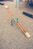 See saw on empty playground for children Royalty Free Stock Photo