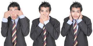 See, speak, hear no evil. Row of 3 images of a young Asian businessman in suit depicting the saying see, speak, hear no evil. Isolated over white Stock Images