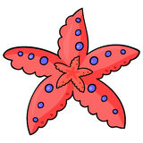 See starfish -01. Marine life. Sea star.Vector illustration for children with isolated image of funny happy cartoon red starfish.Marine animal Royalty Free Stock Photos