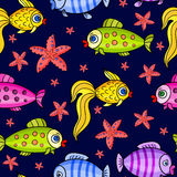 See starfish pattern -01. Fabulous bright nautical seamless pattern with a different fish on a blue background.Marine vector illustration for children.Kids Stock Images
