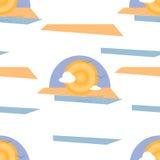 See-, Sun, des Sandes und der Wolkenabstrakte Illustrations-nahtloses Muster auf weißem Hintergrund Lizenzfreie Stockbilder