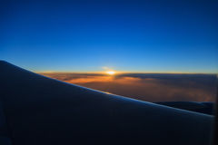See the sunrise on the plane Stock Image
