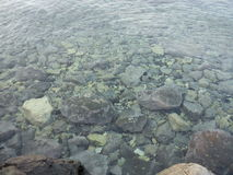 See throug water. Clear Water seeing the bottom with stones looking for sea urchins royalty free stock images