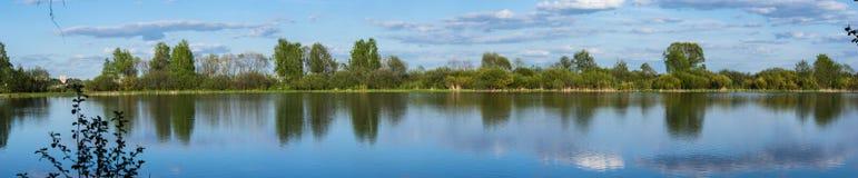 See und Bäume im Sommer Stockbilder