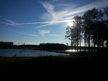 See und Bäume in ländlichem Georgia Stockfotos