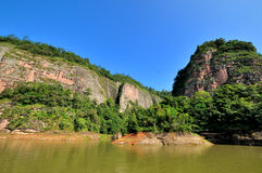 See und Berge gestalten in Fujian, China landschaftlich Stockbild