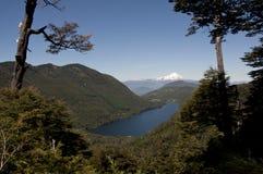 See und Berge zwischen Wald mit schneebedecktem Vulkan Stockbilder