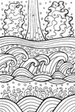 See- und Flusswellen Gekritzelgrafik für Färbungsseiten Auch im corel abgehobenen Betrag