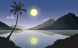 See- und Gebirgsnachtlandschaft Mond- und Gebirgsreflexion auf dem Wasser Auch im corel abgehobenen Betrag