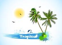 See- und Kokosnusspalmen Vektor Lizenzfreie Stockbilder