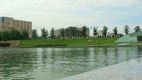 See und Stadt Autokreuzung Baku Azerbaijan stock footage