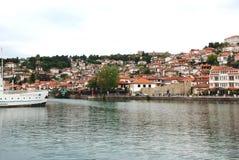 See und Stadt Ohrid, die Republik Mazedonien Stockbilder