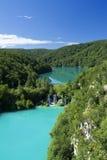 See und Wasserfall in Plitvice stockbild