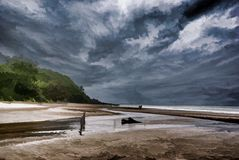 See-und Wolken-Digital-Malerei stock abbildung