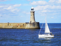 See view. South Shields, England. Beautiful view at South Shields in England. Beautiful embankment, beautiful day. Spring time stock photo