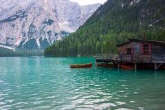 See von Braies auf den Dolomit, Italien Lizenzfreies Stockfoto