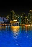 See von Dubai-Brunnen nachts Stockbild
