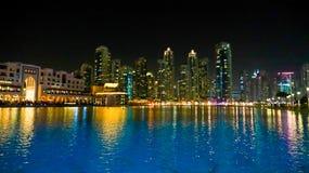 See von Dubai-Brunnen nachts Lizenzfreies Stockbild
