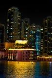 See von Dubai-Brunnen nachts Stockfoto