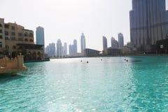 See von Dubai-Brunnen nachts Lizenzfreie Stockfotos