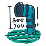 See you periscope icon, hand drawn style. See you periscope icon. Hand drawn illustration of see you periscope vector icon for web design royalty free illustration