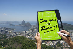 See You In Russia Soccer Football Tactics Board Rio de Janeiro Stock Photos