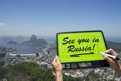 See You In Russia Soccer Football Tactics Board Rio de Janeiro Stock Photo