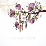 See you soon - postcard with branch in bloom. Hand drawn Royalty Free Stock Photos