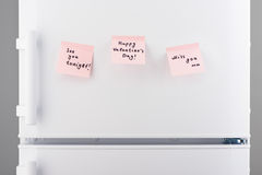 See you tonight, happy valentine day, miss notes on refrigerator Royalty Free Stock Images