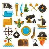 Seeabenteuer, Pirat, Waffe, flache Ikonen des Schatzvektors lizenzfreie abbildung