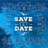 Seeabwehr die Datumskartenmarinevektor Hochzeitseinladung lizenzfreie abbildung