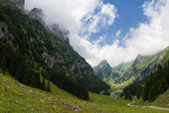 Seealp Lake Seealpsee, Appenzell Switzerland. Seealp Lake and mountains in Appenzell, Switzerland Stock Photography