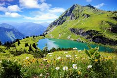 Free Seealpsee A High Mountain Lake In The Bavarian Alps, Germany, Eu Stock Photo - 132401630