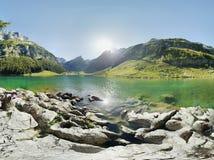 Seealpsee lake switzerland. Seealpsee lake in switzerlamd near aescher in Ebenalp Stock Photography