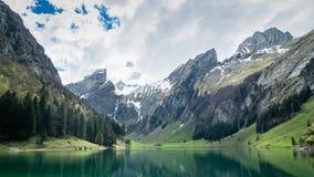 Seealpsee sjö med de schweiziska fjällängarna, Appenzeller land, Schweiz Royaltyfria Bilder