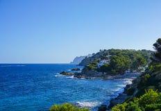 Seeansichtküste von Moraira Spanien Stockfotos
