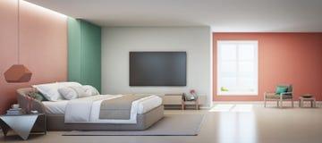 Seeansichtschlafzimmer und rosa Wohnzimmer des Luxussommerstrandhauses mit Doppelbett nahe hölzernem Kabinett stockbilder