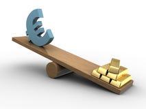 Seeasaw del euro y del oro Imagenes de archivo