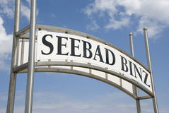 Seebad binz sign on rügen island, germany Stock Photos