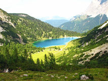Seebensee Mountain. Panoramic shot of the Seebensee in the Austrian Alps stock photography