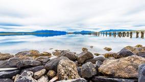 Seeblick und Berglandschaft, Puerto Natales, Chile Kopieren Sie Raum für Text lizenzfreie stockfotos