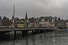 SeebrÃ-¼ cke in der Luzerne Stockbild