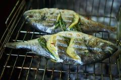 Seebrassen bereiteten sich auf Grill mit Zitrone und Rosmarin vor Stockfotos