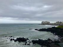 Seebrise auf Strand in Jeju-Insel Korea lizenzfreies stockbild