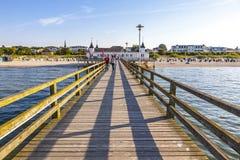 Seebrucke Ahlbeck, przyjemności molo w Ahlbeck, wyspa Usedom, G Zdjęcie Royalty Free