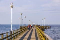 Seebrucke Ahlbeck, przyjemności molo w Ahlbeck, wyspa Usedom, G Obraz Royalty Free