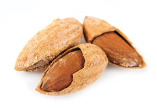 Seed of almonds nuts on white Stock Images