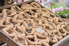 Seed bag exhibitor. Seed of flower in bag exhibitor Royalty Free Stock Photos