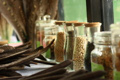 Seed bottle. Seed in bottle. lined up and closeup Royalty Free Stock Images